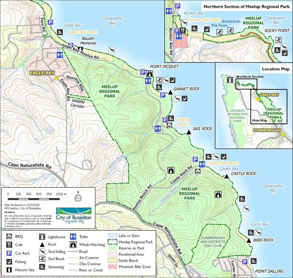 Meelup park Beaches map